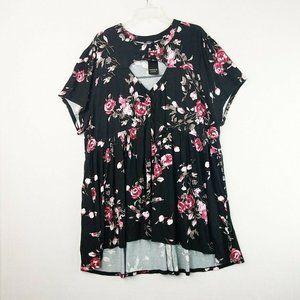 Torrid Black Floral Cutout Knit Babydoll Shirt 4X